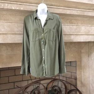 Merona Olive Green Button Down Top